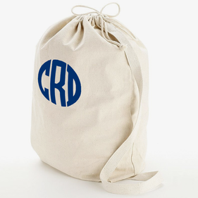 Block Monogram Heavy Canvas Laundry Bag W/Shoulder Strap