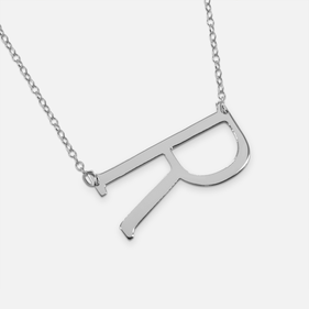 Sterling Silver Personalized Horizontal Initial Necklace