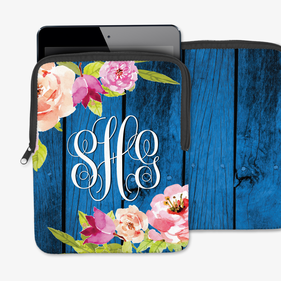 Blossom Branch On Blue Wood Fence Custom iPad/Tablet/Laptop Sleeve