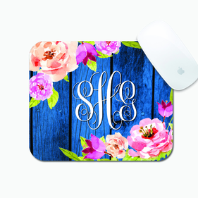 Blossom Branch On Blue Wood Fence Custom Rectangular Mouse Pad