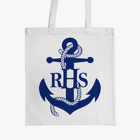 Blue Anchor Monogram Kids Tote Bag