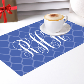 Custom Blue Monogram Placemat