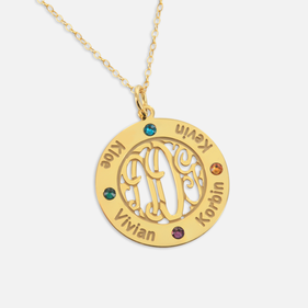 Bordered Gold Plated Monogram Pendant Personalized with Names and  Swarovski Birthstones