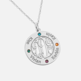 Bordered Monogram Pendant Personalized with Names and  Swarovski Birthstones in Silver