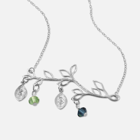 Branch Necklace Personalized with Swarovski  Birthstone and  Initial