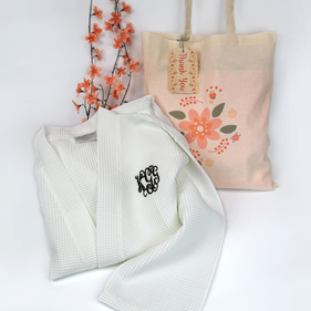 Monogram Bath Robe With Thank You Gift Tote Bag