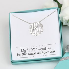 Bridesmaid I Do Monogram Necklace Gift Boxed