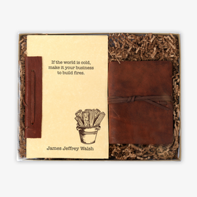 Build Fires Genuine Leather Journal & Custom Notebook Gift Set