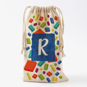 Building Blocks Personalized Drawstring Toy Bag