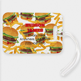 Burgers & Fries Custom Name And Address Luggage Tag