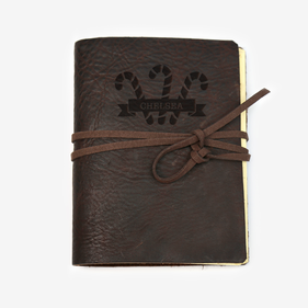 Candy Cane Custom Genuine Leather-Bound Large Journal
