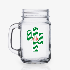 Chevron Cactus Personalized Mason Jar