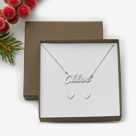 Chloe Style Name Necklace w/ Heart Stud Earrings Gift Boxed Set in Sterling Silver