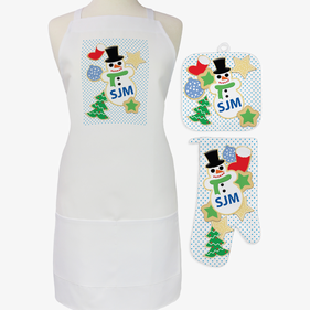 Christmas Cookies Custom 3-Piece Apron, Pot Holder and Mitt Set