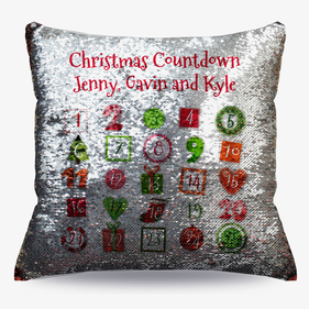 Christmas Countdown Custom Sequin Decorative Cushion Cover