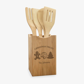 Christmas Treats Custom Wooden Utensils And Holder Set