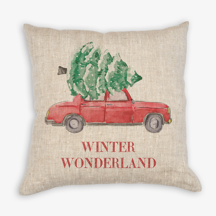 Christmas Tree Car Personalized Linen Decorative Pillowcase