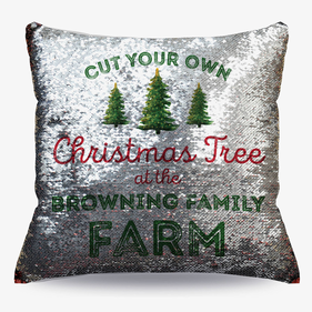 Christmas Tree Farm Flip Sequin Decorative Cushion Cover