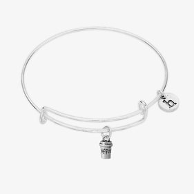 Coffee Lovers Charm Bangle Bracelet w/ Initial