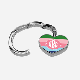 Color Stripes Heart Shape Monogrammed Folding Purse Hanger