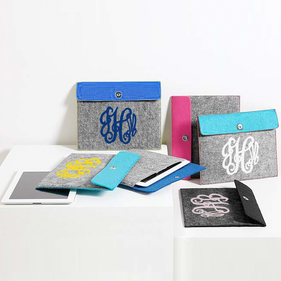 Colorful Felt Monogram Tablet Sleeve