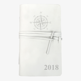Compass Personalized Genuine Leather-Bound Mini Journal