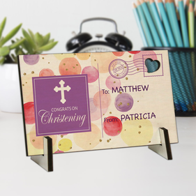 Congrats On Christening Personalized Wood Postcard