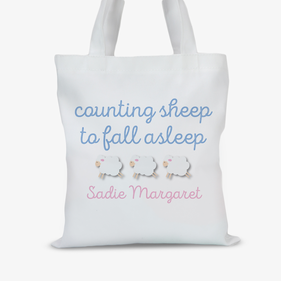 Counting Sheep To Fall Asleep Custom Kids Tote Bag