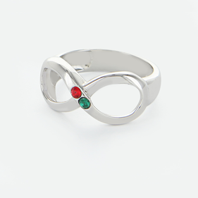 Couples Infinity Ring with Birthstones in Sterling Silver