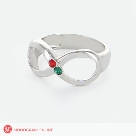 Couples Infinity Ring with Birthstones
