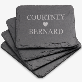 Couples Love Personalized Square Slate Coasters