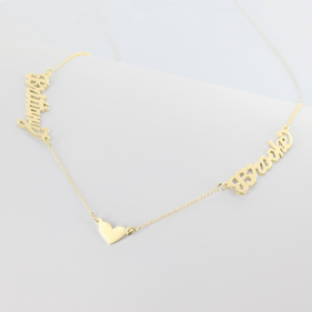 Couples Name Necklace w/ Small Heart Charm in Yellow or Rose Gold over Silver