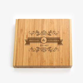 Couples Personalized 5 Piece Bamboo Cheese Set