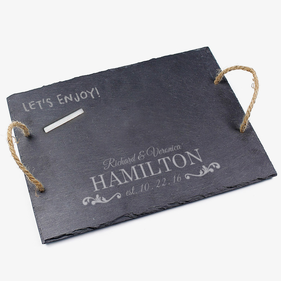 Couples Personalized Slate Tray With Jute Hanger