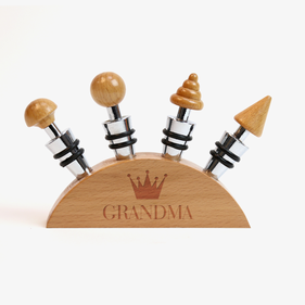 Crown Custom Blonde Wood Wine Stopper Set