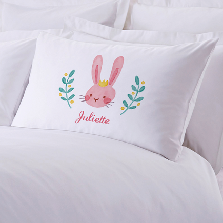 Crowned Easter Bunny Personalized Kids Pillowcase