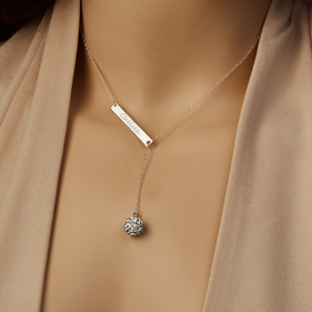 Crystal Ball Custom Lariat Bar Necklace