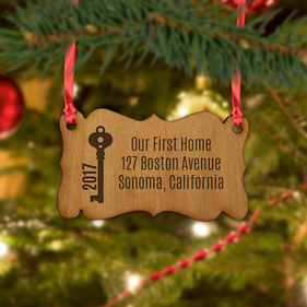 Custom Address Christmas Wood Badge Ornament