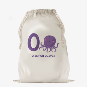 Custom Animal Alphabet Large Drawstring Sack