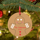 Custom Gingerbread Man Ball Christmas Frosted Glass Ornament