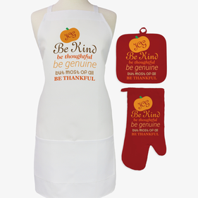 Custom Be Thankful 3-Piece Apron, Pot Holder and Mitt Set