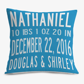 Custom Birth Stats Decorative Cushion Cover