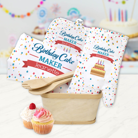 Custom Birthday Cake Maker Kitchen Gift Basket