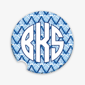 Custom Block Monogram Christmas Car Coaster