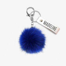 Exclusive Sale - Custom Blue Angora Pom Pom Keychain
