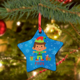 Custom Boy Elf Ceramic Star Ornament