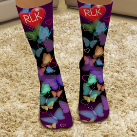 Custom Butterflies and Hearts Tube Socks