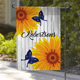 Custom Butterflies and Sunflowers Garden Flag