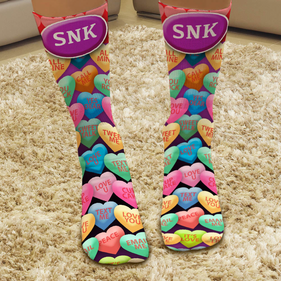 Custom Candy Heart Message Tube Socks