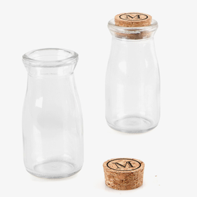 Custom Casual Elegance Glass Mini Milk Bottles with Cork